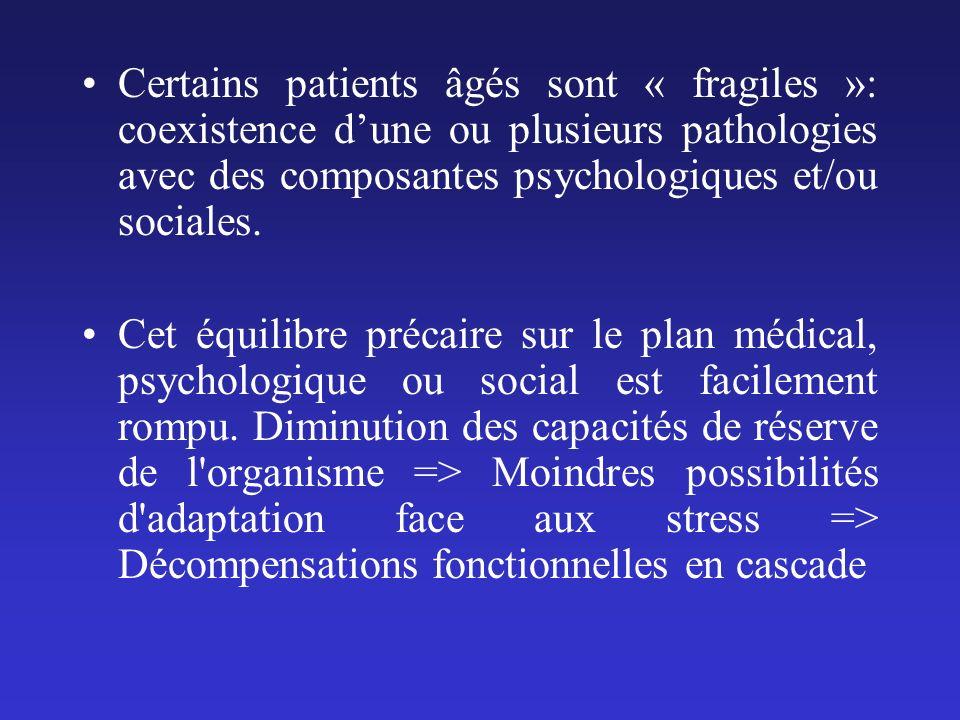 Certains patients âgés sont « fragiles »: coexistence dune ou plusieurs pathologies avec des composantes psychologiques et/ou sociales. Cet équilibre