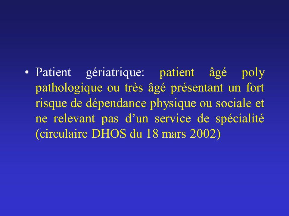 Patient gériatrique: patient âgé poly pathologique ou très âgé présentant un fort risque de dépendance physique ou sociale et ne relevant pas dun serv