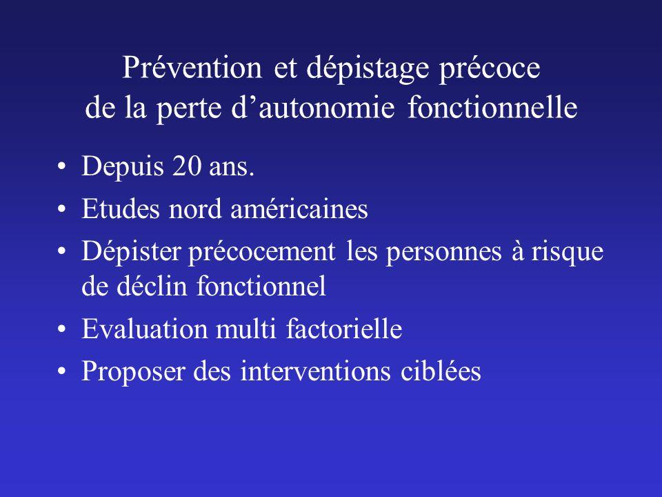 Prévention et dépistage précoce de la perte dautonomie fonctionnelle Depuis 20 ans. Etudes nord américaines Dépister précocement les personnes à risqu