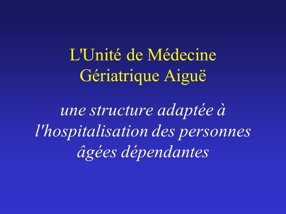 L'Unité de Médecine Gériatrique Aiguë une structure adaptée à l'hospitalisation des personnes âgées dépendantes