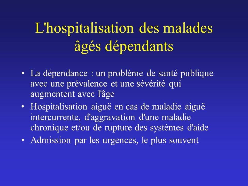 L'hospitalisation des malades âgés dépendants La dépendance : un problème de santé publique avec une prévalence et une sévérité qui augmentent avec l'