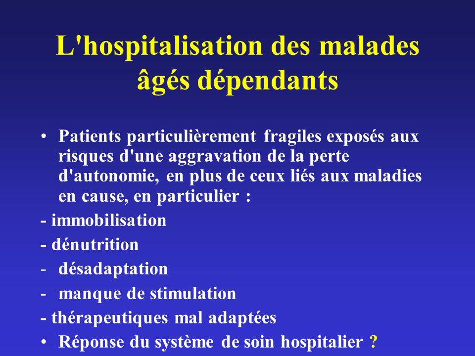 L'hospitalisation des malades âgés dépendants Patients particulièrement fragiles exposés aux risques d'une aggravation de la perte d'autonomie, en plu