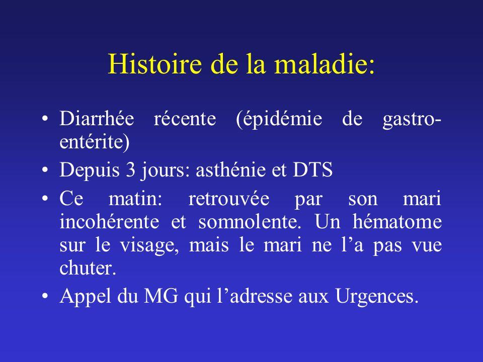 A larrivée aux Urgences TA : 140/65, pouls irrégulier, fréquence moyenne : 145/mn, apyrétique.