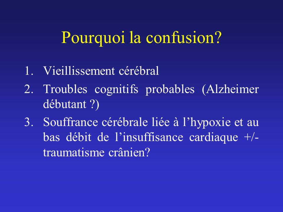 Pourquoi la confusion? 1.Vieillissement cérébral 2.Troubles cognitifs probables (Alzheimer débutant ?) 3.Souffrance cérébrale liée à lhypoxie et au ba