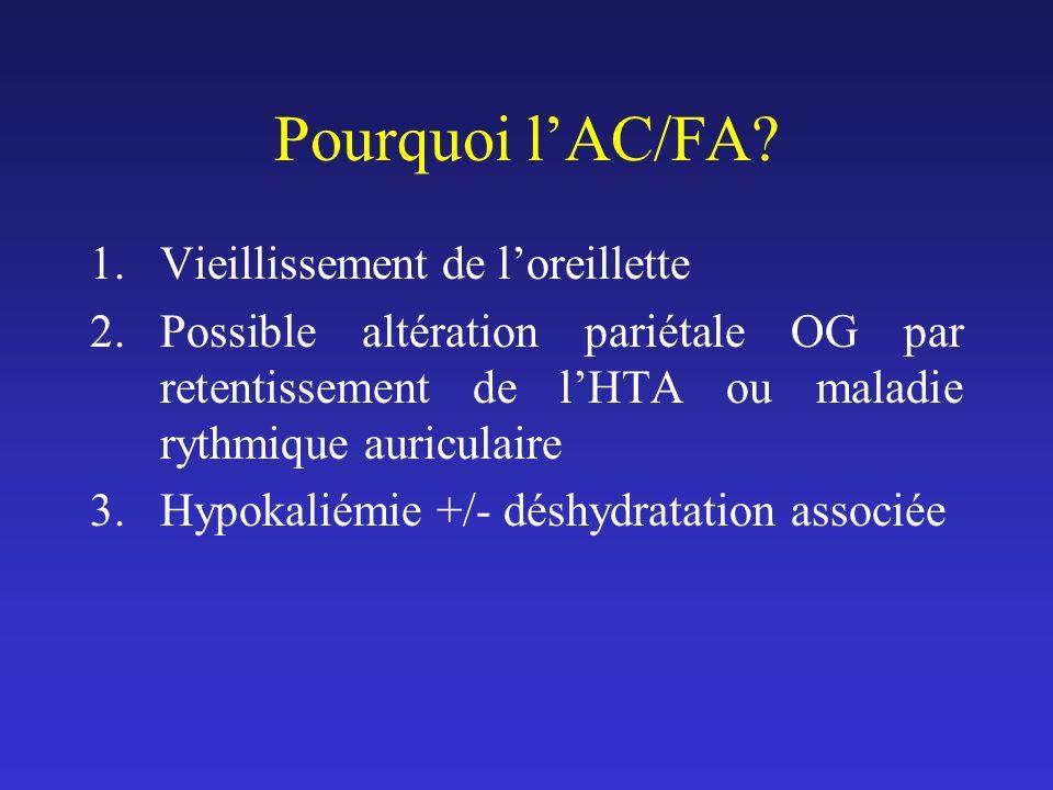 Pourquoi lAC/FA? 1.Vieillissement de loreillette 2.Possible altération pariétale OG par retentissement de lHTA ou maladie rythmique auriculaire 3.Hypo