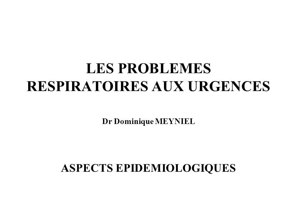 LES PROBLEMES RESPIRATOIRES AUX URGENCES Dr Dominique MEYNIEL ASPECTS EPIDEMIOLOGIQUES