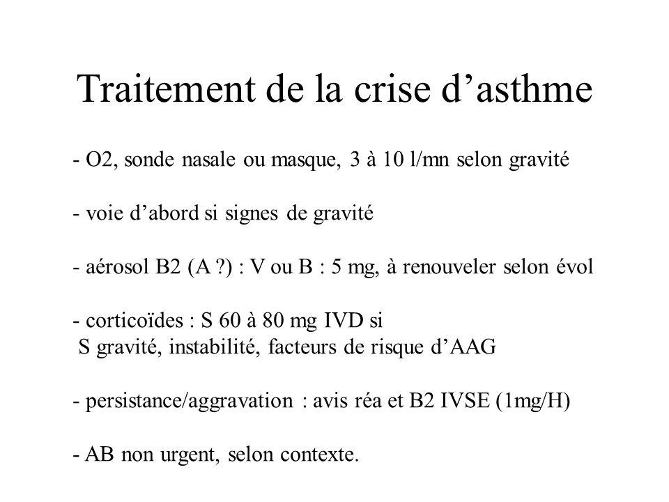 Traitement de la crise dasthme - O2, sonde nasale ou masque, 3 à 10 l/mn selon gravité - voie dabord si signes de gravité - aérosol B2 (A ?) : V ou B