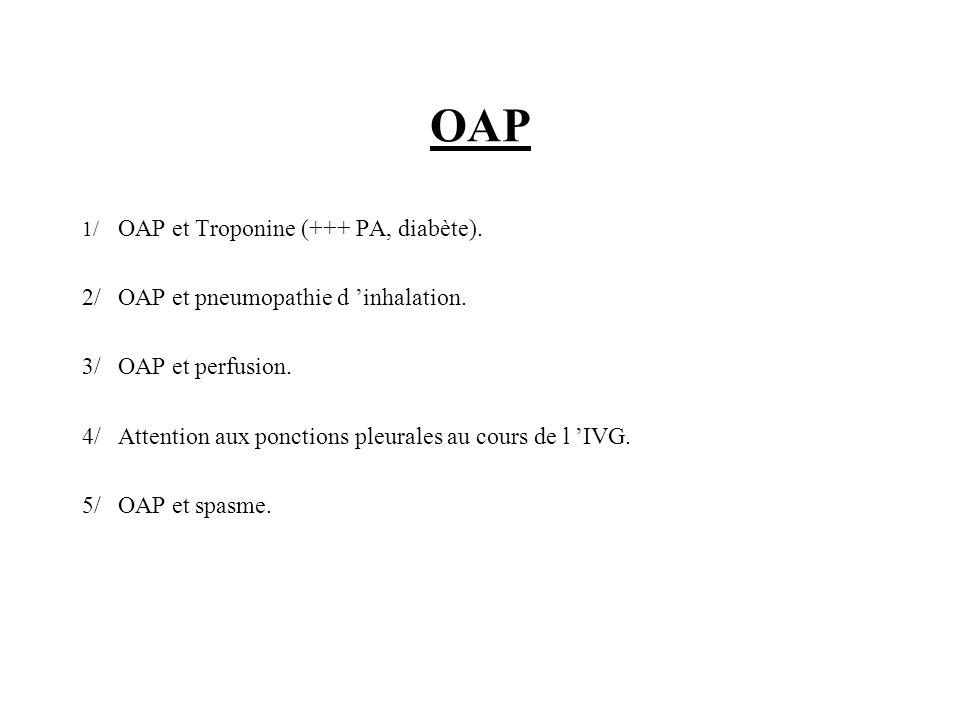 OAP 1/ OAP et Troponine (+++ PA, diabète). 2/OAP et pneumopathie d inhalation. 3/OAP et perfusion. 4/Attention aux ponctions pleurales au cours de l I