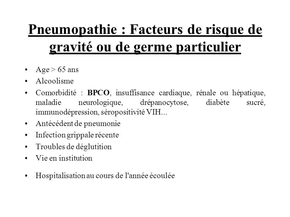 Pneumopathie : Facteurs de risque de gravité ou de germe particulier Age > 65 ans Alcoolisme Comorbidité : BPCO, insuffisance cardiaque, rénale ou hép