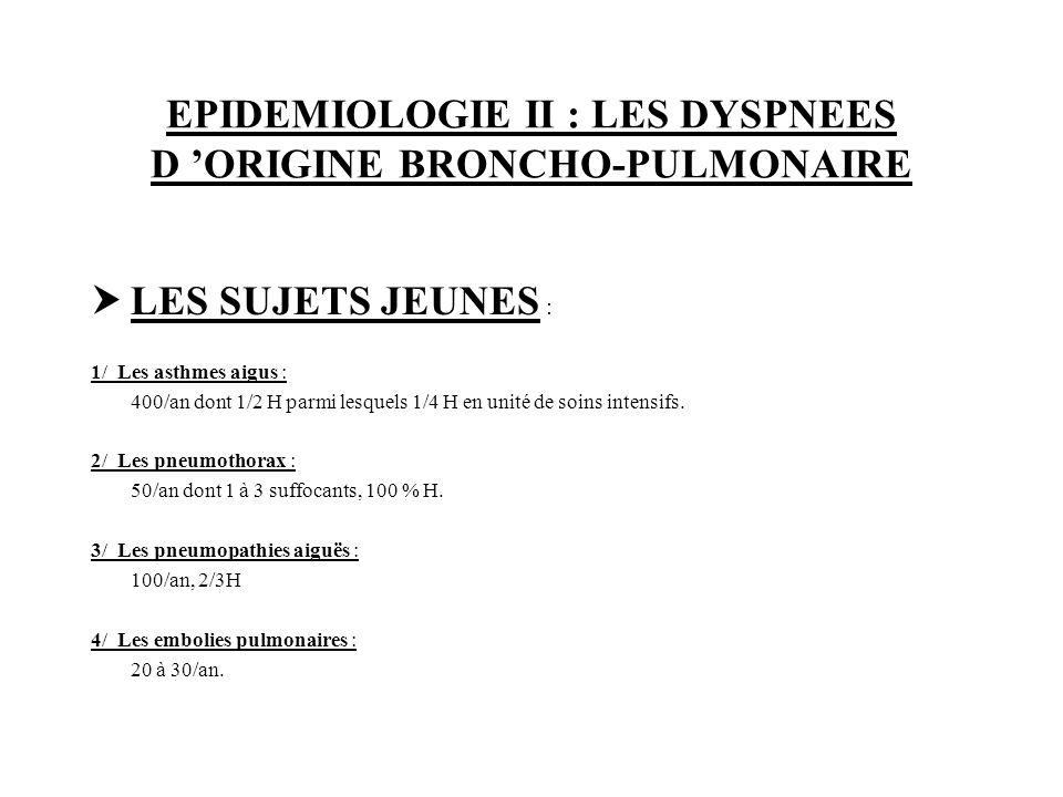 EPIDEMIOLOGIE II : LES DYSPNEES D ORIGINE BRONCHO-PULMONAIRE LES PERSONNES ÂGEES : 1/ Les OAP : 400/an, H 100 %, facteurs déclenchant : embolie pulmonaire .