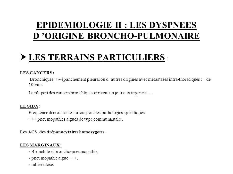 EPIDEMIOLOGIE II : LES DYSPNEES D ORIGINE BRONCHO-PULMONAIRE LES TERRAINS PARTICULIERS : LES CANCERS : Bronchiques, +/- épanchement pleural ou d autre