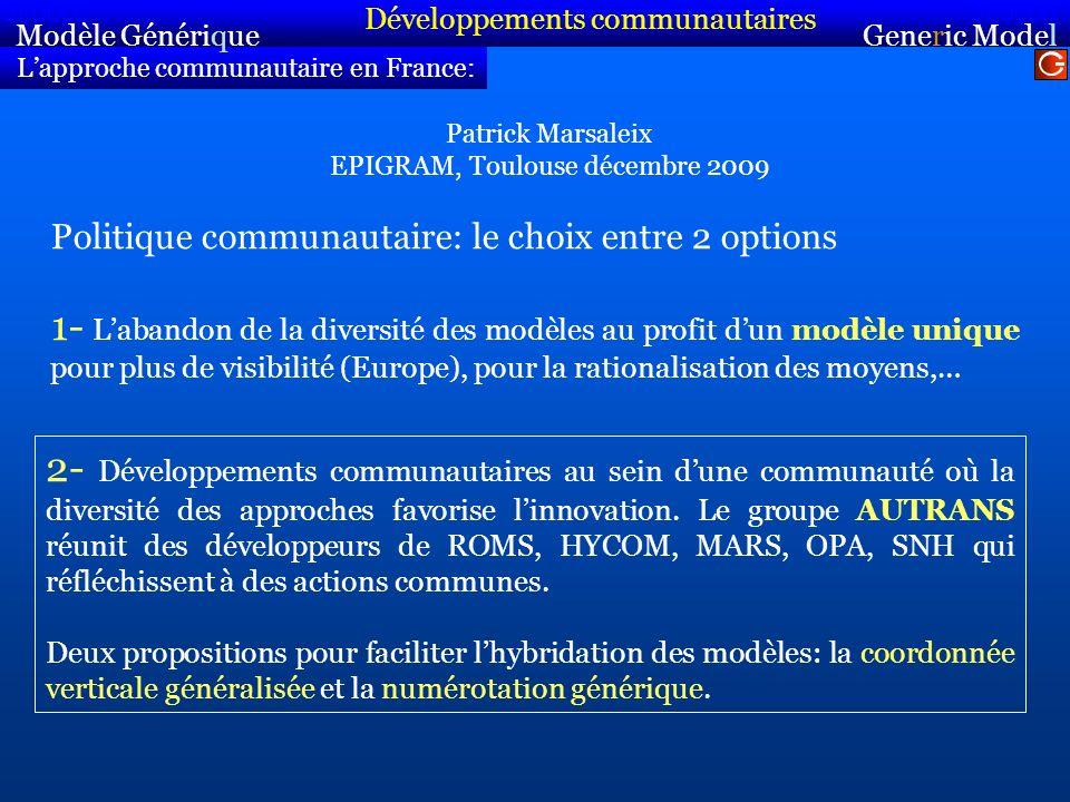 Lapproche communautaire en France: Politique communautaire: le choix entre 2 options 1- Labandon de la diversité des modèles au profit dun modèle uniq