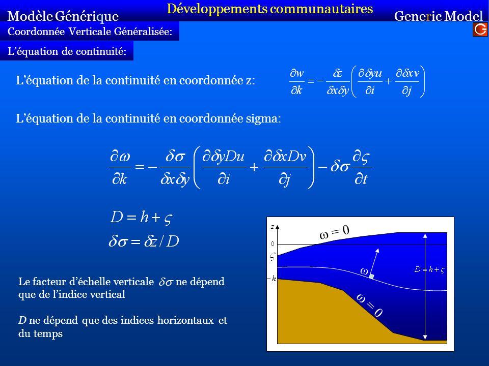 Coordonnée Verticale Généralisée: Léquation de la continuité en coordonnée z: Modèle Générique Sirocco Generic Model Sirocco Léquation de continuité: Léquation de la continuité en coordonnée sigma: = 0 0 z Le facteur déchelle verticale ne dépend que de lindice vertical D ne dépend que des indices horizontaux et du temps Développements communautaires