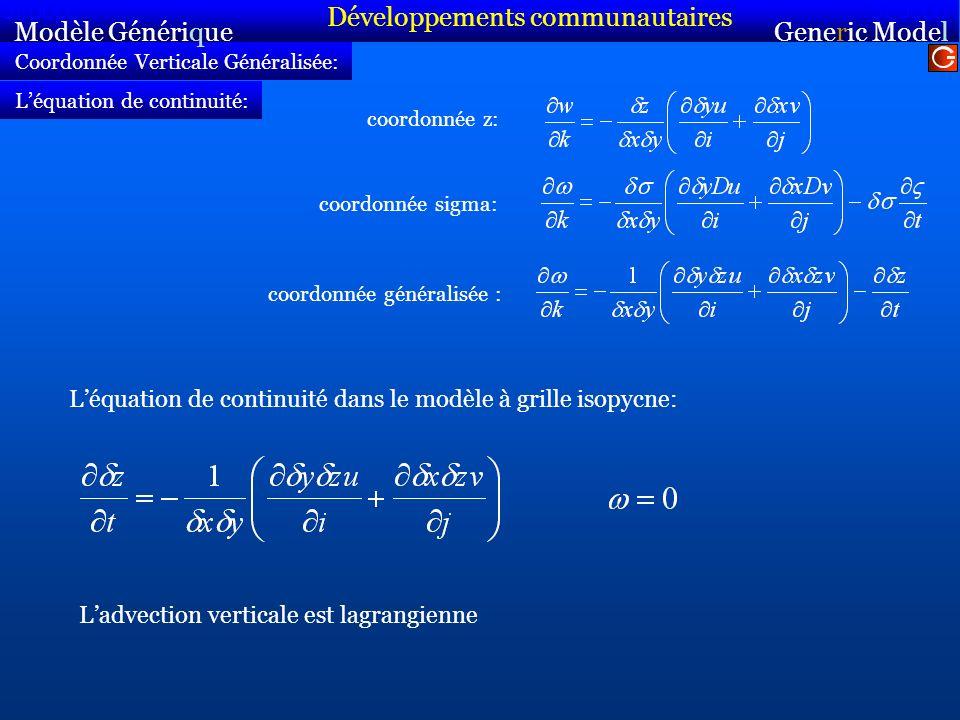 Coordonnée Verticale Généralisée: coordonnée z: Modèle Générique Sirocco Generic Model Sirocco Léquation de continuité: coordonnée sigma: coordonnée généralisée : Léquation de continuité dans le modèle à grille isopycne: Ladvection verticale est lagrangienne Développements communautaires