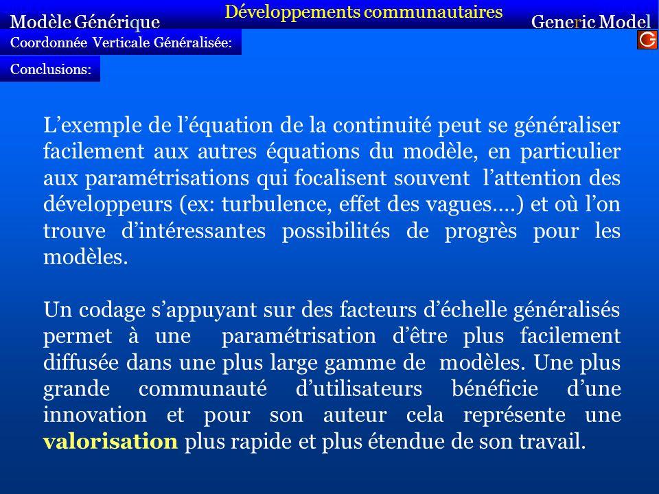 Coordonnée Verticale Généralisée: Modèle Générique Sirocco Generic Model Sirocco Conclusions: Lexemple de léquation de la continuité peut se généralis