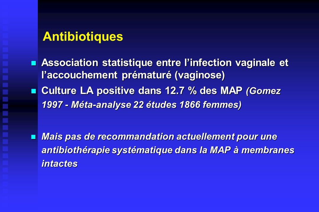Antibiotiques Association statistique entre linfection vaginale et laccouchement prématuré (vaginose) Association statistique entre linfection vaginal
