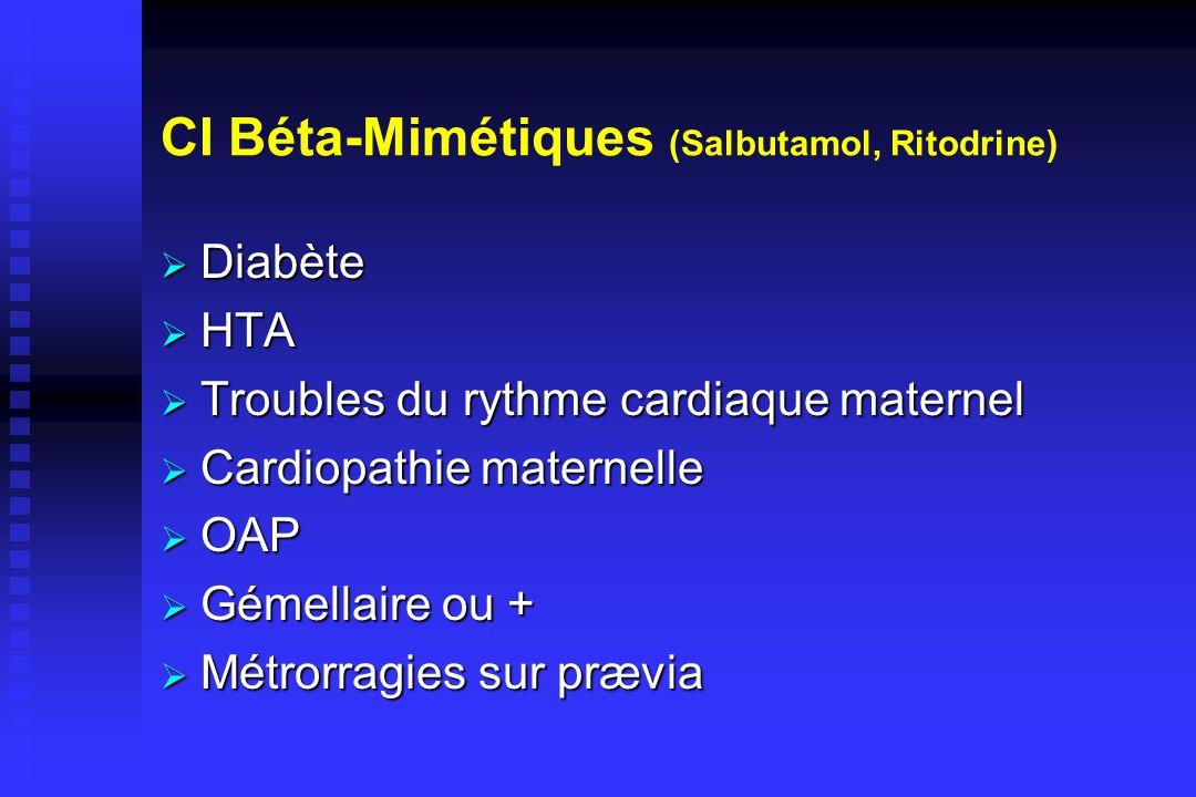CI Béta-Mimétiques (Salbutamol, Ritodrine) Diabète Diabète HTA HTA Troubles du rythme cardiaque maternel Troubles du rythme cardiaque maternel Cardiop