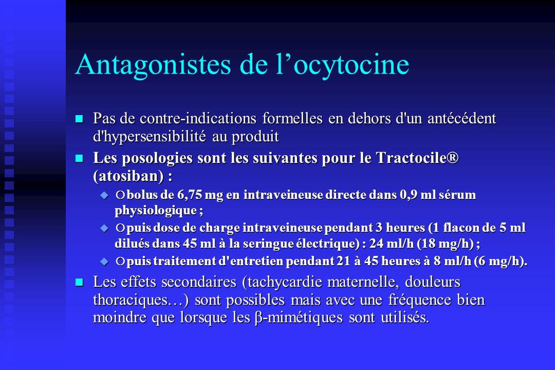 Antagonistes de locytocine Pas de contre-indications formelles en dehors d'un antécédent d'hypersensibilité au produit Pas de contre-indications forme