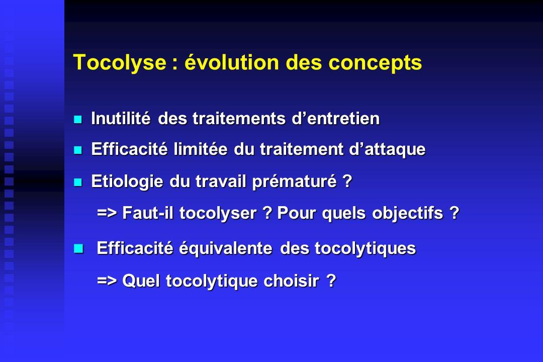 Tocolyse : évolution des concepts Inutilité des traitements dentretien Inutilité des traitements dentretien Efficacité limitée du traitement dattaque