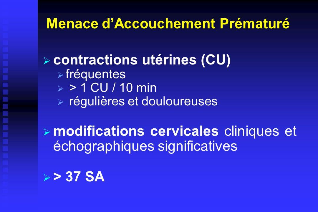 Menace dAccouchement Prématuré contractions utérines (CU) fréquentes > 1 CU / 10 min régulières et douloureuses modifications cervicales cliniques et