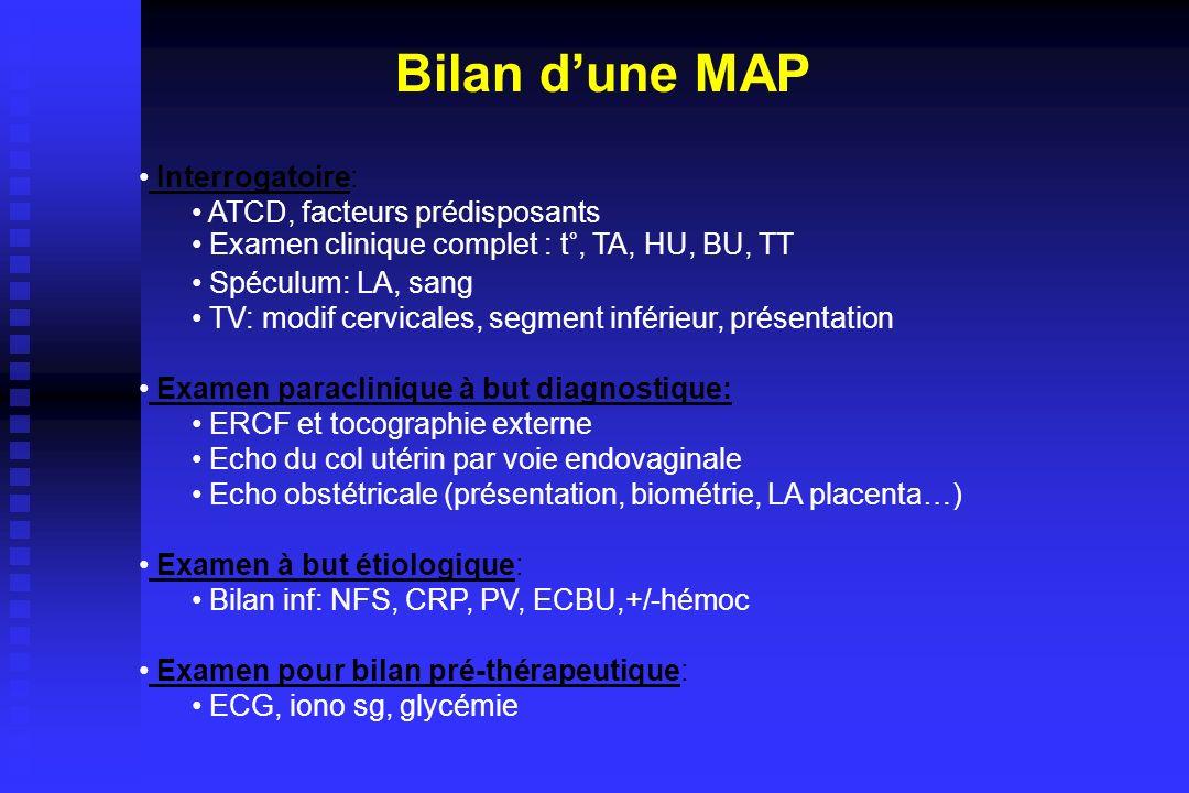 Interrogatoire: ATCD, facteurs prédisposants Examen clinique complet : t°, TA, HU, BU, TT Spéculum: LA, sang TV: modif cervicales, segment inférieur,