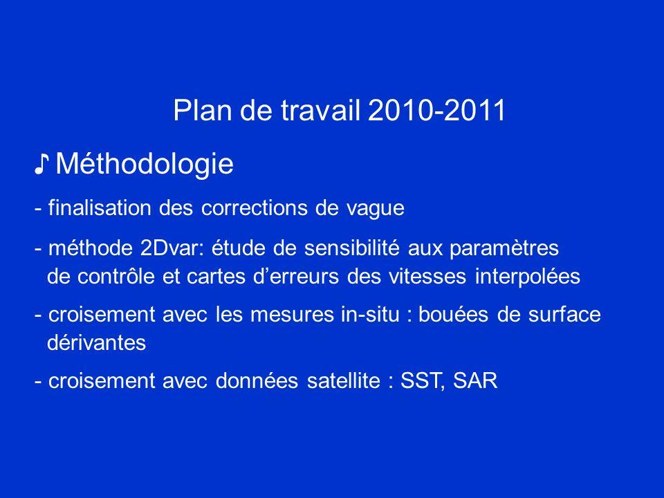 Plan de travail 2010-2011 Méthodologie - finalisation des corrections de vague - méthode 2Dvar: étude de sensibilité aux paramètres de contrôle et car