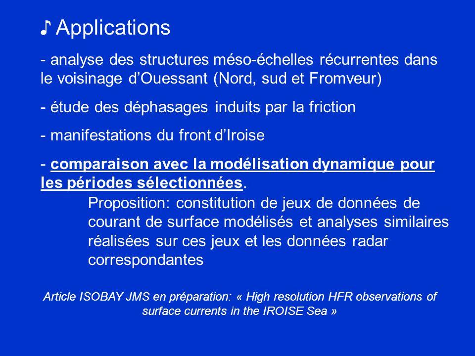 Applications - analyse des structures méso-échelles récurrentes dans le voisinage dOuessant (Nord, sud et Fromveur) - étude des déphasages induits par