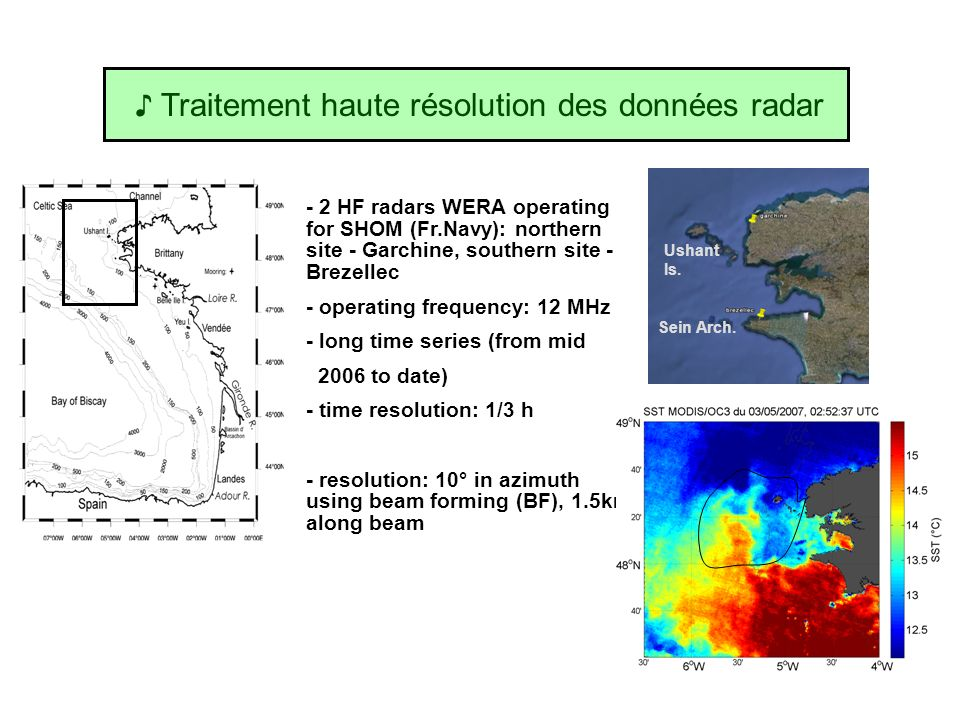 Traitement haute résolution des données radar - 2 HF radars WERA operating for SHOM (Fr.Navy): northern site - Garchine, southern site - Brezellec - o