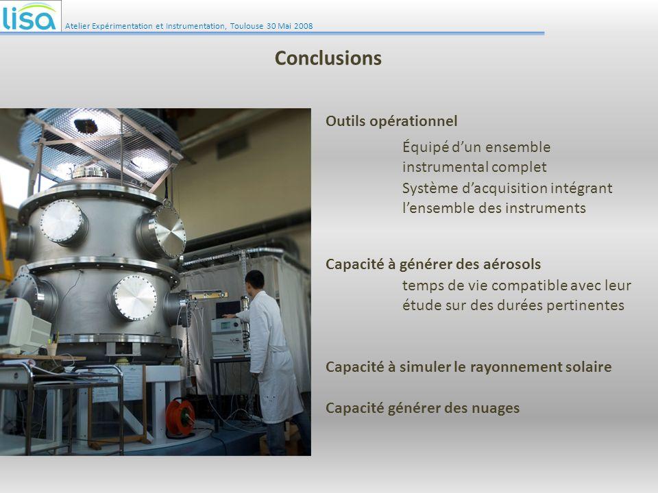 Atelier Expérimentation et Instrumentation, Toulouse 30 Mai 2008 Conclusions Outils opérationnel Capacité à simuler le rayonnement solaire Capacité à