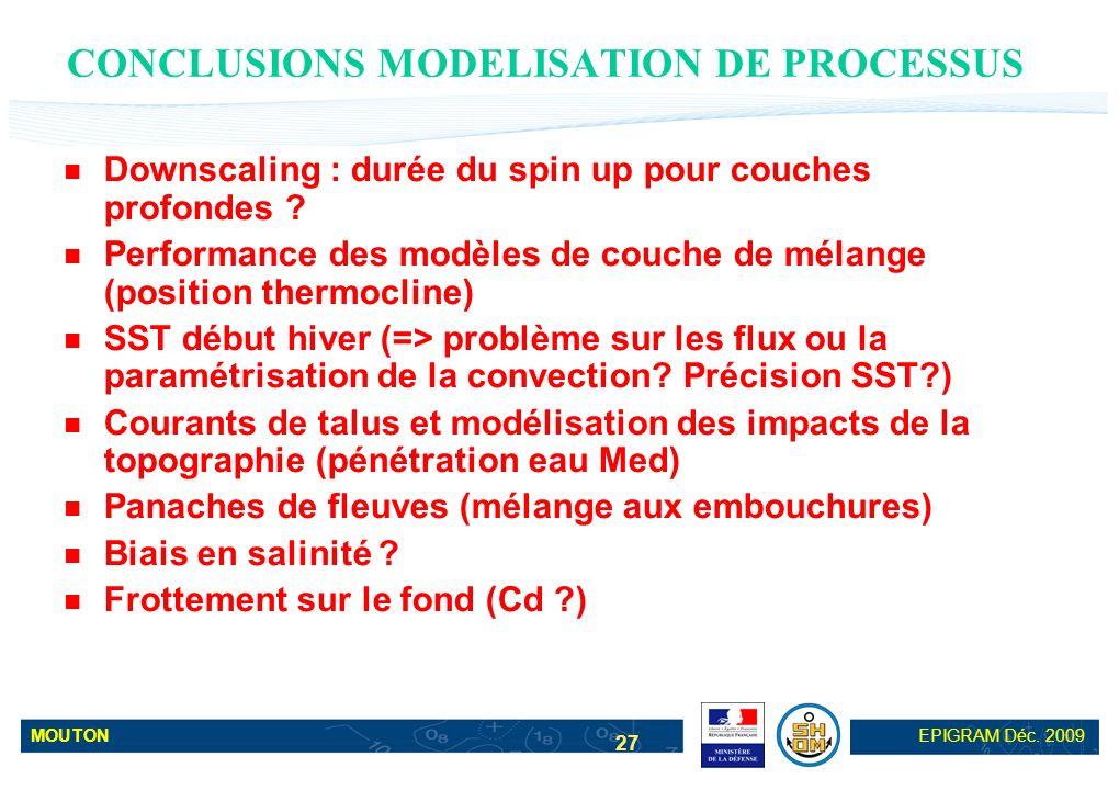 MOUTONEPIGRAM Déc. 2009 27 CONCLUSIONS MODELISATION DE PROCESSUS Downscaling : durée du spin up pour couches profondes ? Performance des modèles de co