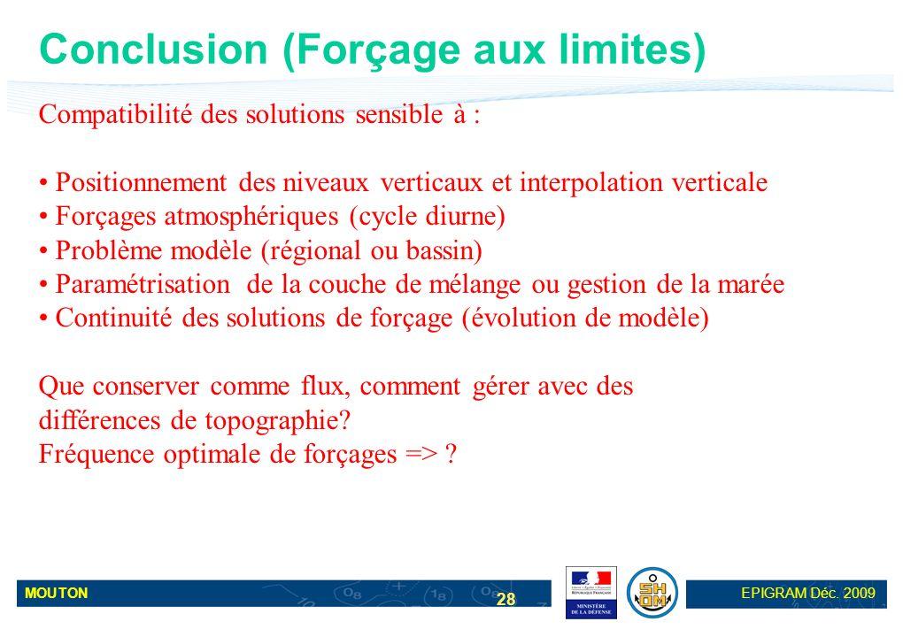 MOUTONEPIGRAM Déc. 2009 28 Conclusion (Forçage aux limites) Compatibilité des solutions sensible à : Positionnement des niveaux verticaux et interpola