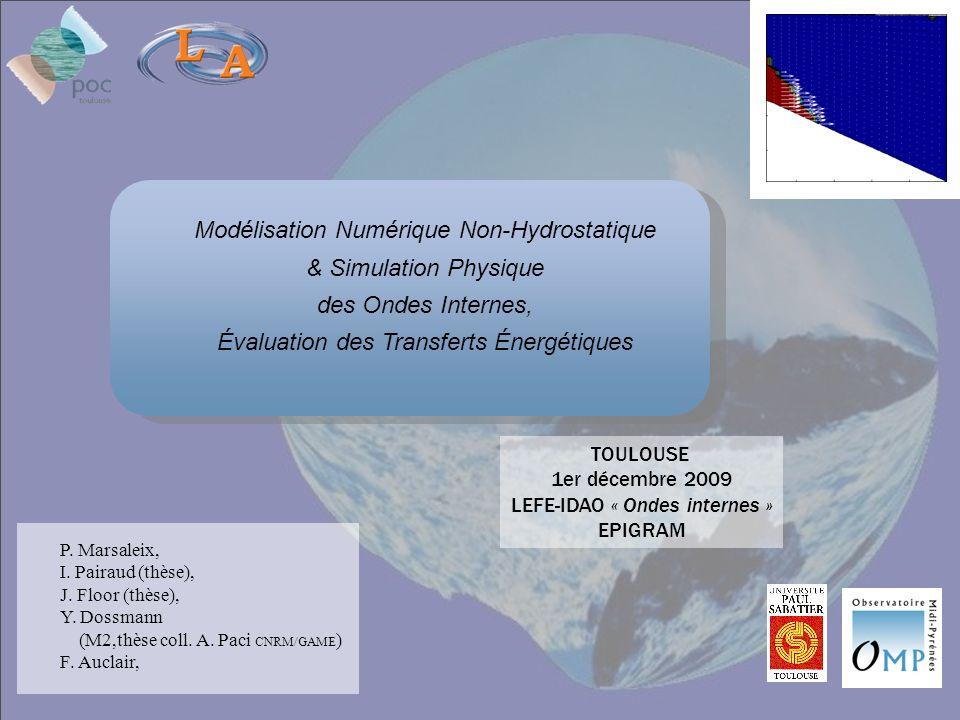 Modélisation Numérique Non-Hydrostatique & Simulation Physique des Ondes Internes, Évaluation des Transferts Énergétiques P. Marsaleix, I. Pairaud (th