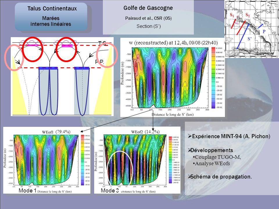 Pairaud et al., CSR (05) w (reconstructed) at 12,4h, 09/08 (22h40) Section (S) S1S1 S2S2 S P (79.4%)(14.2%) Expérience MINT-94 (A. Pichon) Développeme
