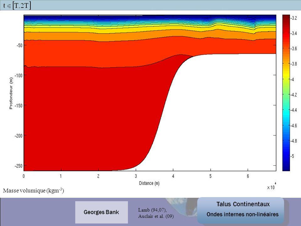 Georges Bank Masse volumique (kgm -3 ) Talus Continentaux Ondes internes non-linéaires Lamb (94,07), Auclair et al. (09)