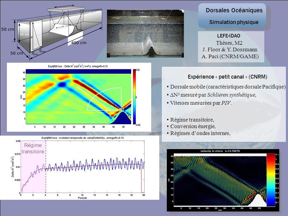 Thèses, M2 J. Floor & Y. Dossmann A. Paci (CNRM/GAME) Dorsale mobile (caractéristiques dorsale Pacifique) ΔN² mesuré par Schlieren synthétique, Vitess