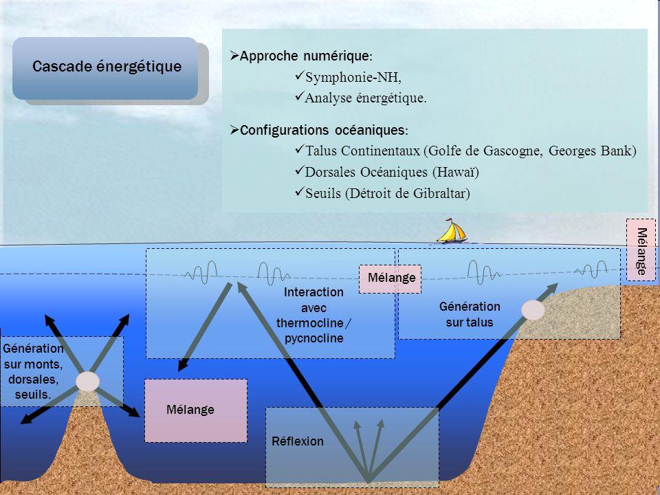 Cascade énergétique Génération sur monts, dorsales, seuils. Mélange Interaction avec thermocline / pycnocline Mélange Génération sur talus Mélange Réf