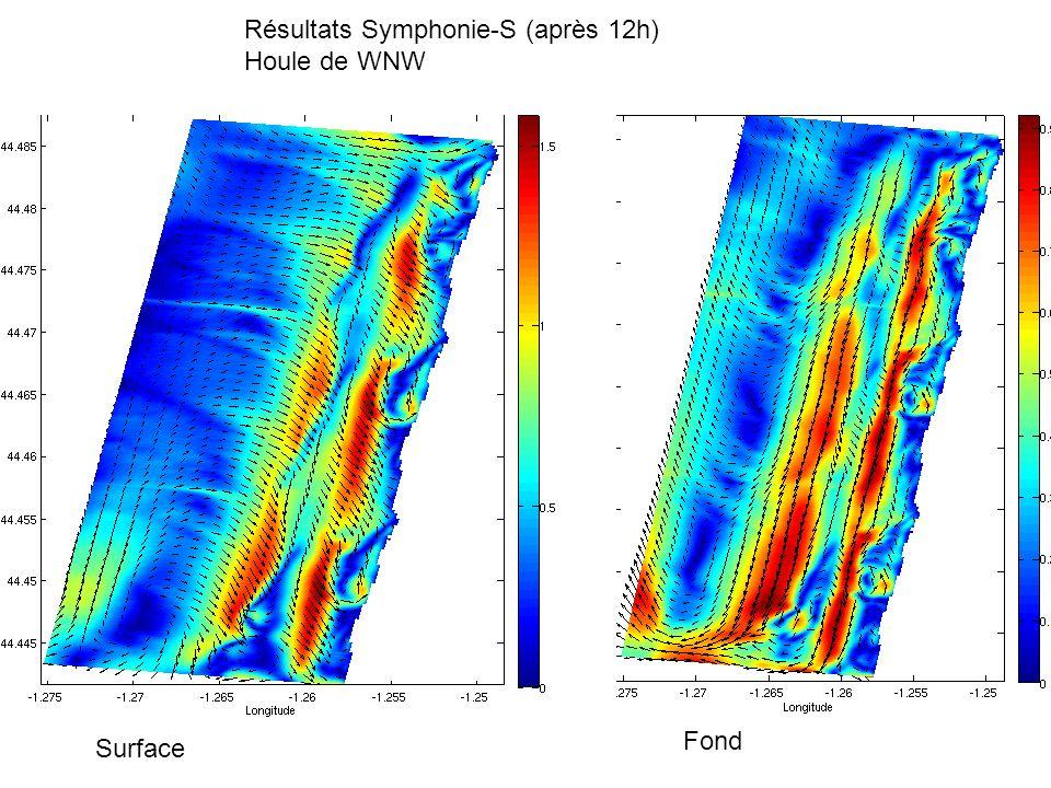 Résultats Symphonie-S (après 12h) Houle de WNW Surface Fond