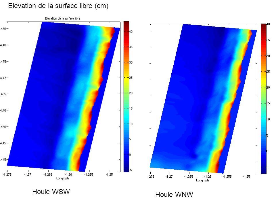 Elevation de la surface libre (cm) Houle WNW Houle WSW