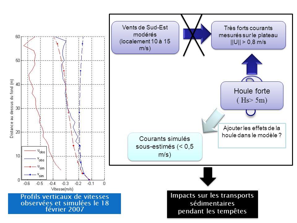 Profils verticaux de vitesses observées et simulées le 18 février 2007 Impacts sur les transports sédimentaires pendant les tempêtes Impacts sur les t