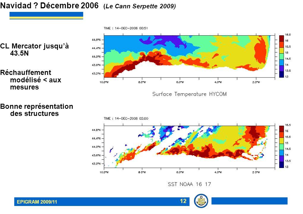 EPIGRAM 2009/11 12 Navidad ? Décembre 2006 (Le Cann Serpette 2009) CL Mercator jusquà 43.5N Réchauffement modélisé < aux mesures Bonne représentation