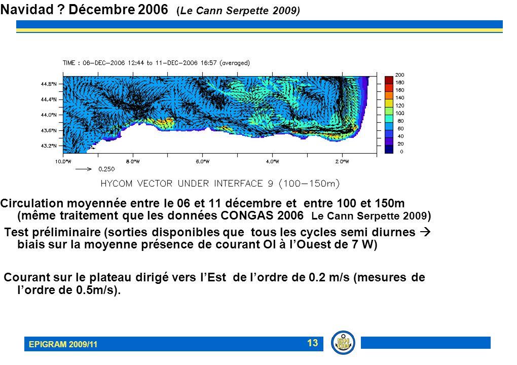 EPIGRAM 2009/11 13 Circulation moyennée entre le 06 et 11 décembre et entre 100 et 150m (même traitement que les données CONGAS 2006 Le Cann Serpette