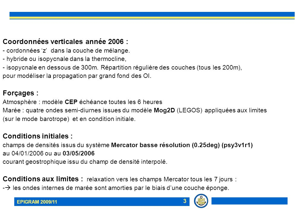 EPIGRAM 2009/11 24 PF02 mesures LADCP MOUTON 2006 1: répartition verticale de la composante Nord-Sud sur 28h; 2: extraction dun vecteur moyenné sur deux cycles de marée : extension verticale 3: composante Nord-Sud associée à la marée interne (1- 2) Est Nord 2 1 3 30cm/s