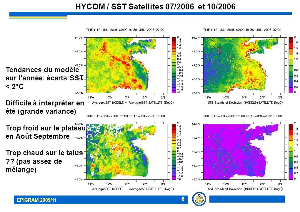 EPIGRAM 2009/11 7 HYCOM / SST Satellites Zoom front d Ouessant Juillet Août 2006: zone de transition (stratifiée/homogène) dans la Manche bien positionnée; zone stratifiée Manche Ouest trop froide ; zone mélangées du front (Sein Ouessant) bien représentées début Août