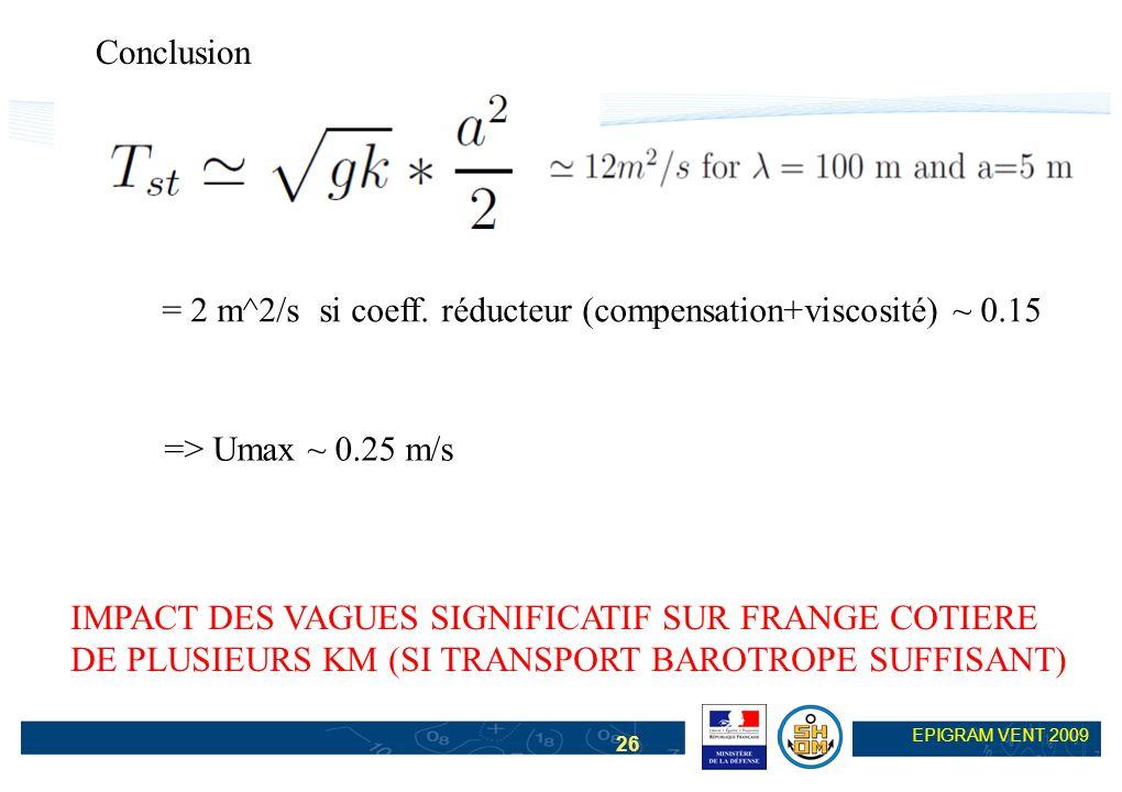 26 EPIGRAM VENT 2009 => Umax ~ 0.25 m/s = 2 m^2/s si coeff. réducteur (compensation+viscosité) ~ 0.15 Conclusion IMPACT DES VAGUES SIGNIFICATIF SUR FR