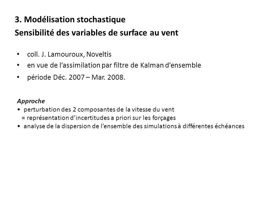 3. Modélisation stochastique Sensibilité des variables de surface au vent coll. J. Lamouroux, Noveltis en vue de lassimilation par filtre de Kalman de