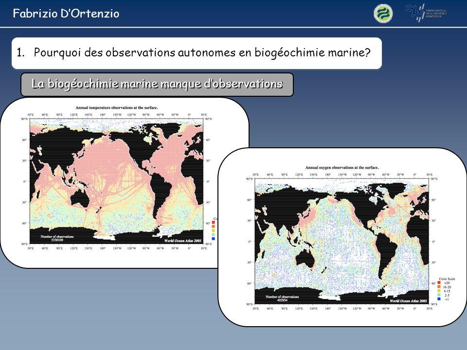La biogéochimie marine manque dobservations 1.Pourquoi des observations autonomes en biogéochimie marine? Fabrizio DOrtenzio
