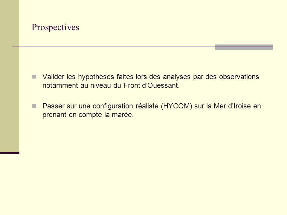 Prospectives Valider les hypothèses faites lors des analyses par des observations notamment au niveau du Front dOuessant. Passer sur une configuration
