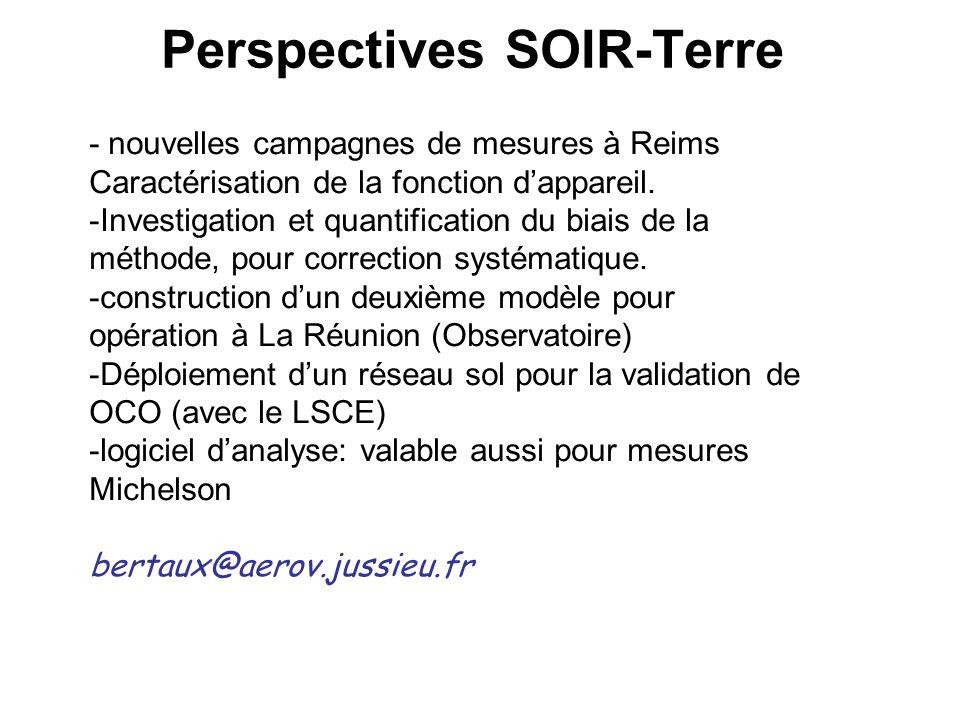 Perspectives SOIR-Terre - nouvelles campagnes de mesures à Reims Caractérisation de la fonction dappareil. -Investigation et quantification du biais d