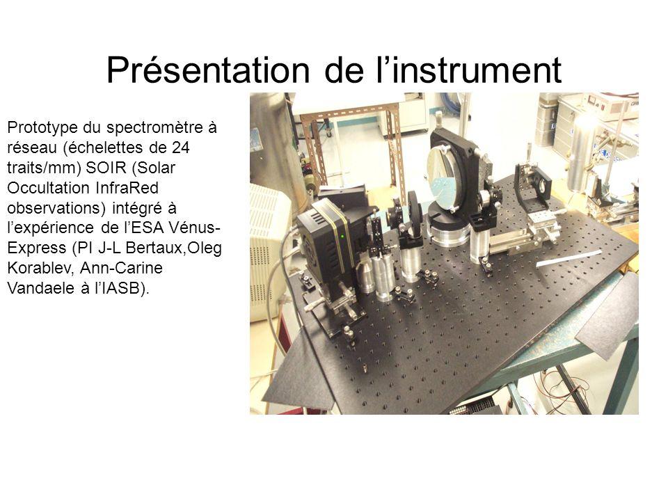 Présentation de linstrument Prototype du spectromètre à réseau (échelettes de 24 traits/mm) SOIR (Solar Occultation InfraRed observations) intégré à l