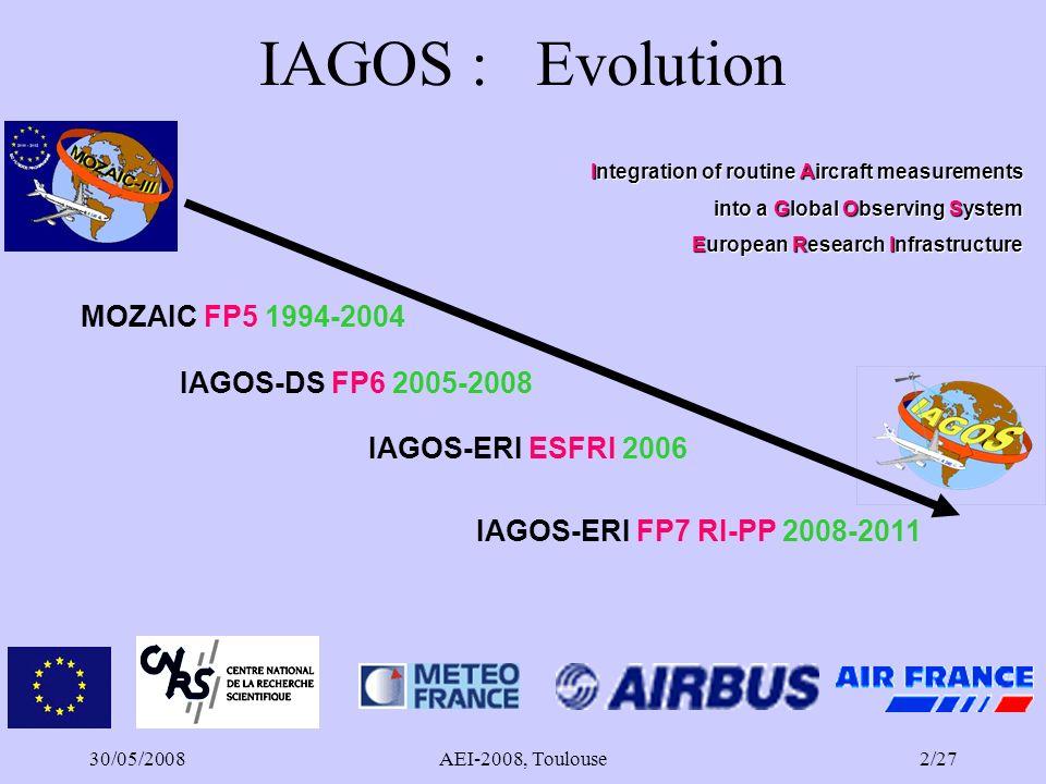 30/05/2008AEI-2008, Toulouse3/27 Sommaire Résultats des projets de recherche MOZAIC Infrastructure IAGOS –Objectifs –Tâches en cours –Diffusion des observations –Prospective